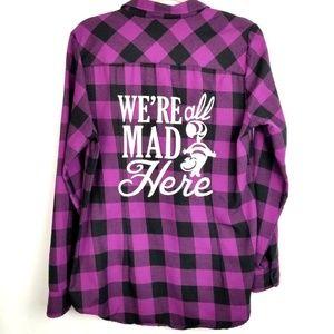 Disney Alice in Wonderland Flannel Shirt XL Purple
